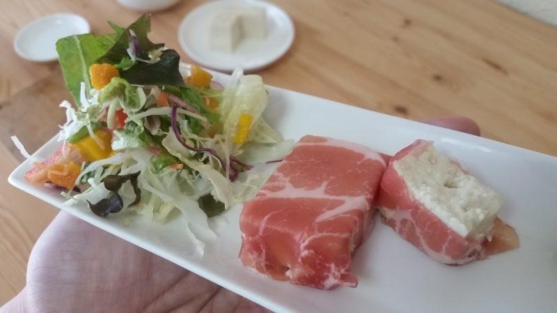 豆腐の生ハム巻き