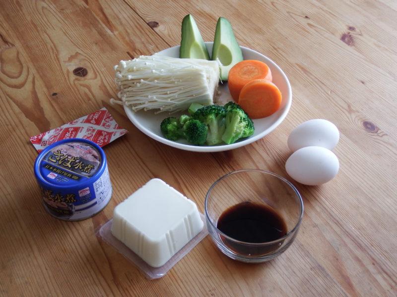 超低糖質の温野菜えのきサラダ 材料
