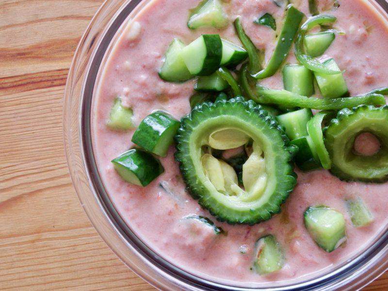 夏野菜の豆腐トマトポタージュスープ